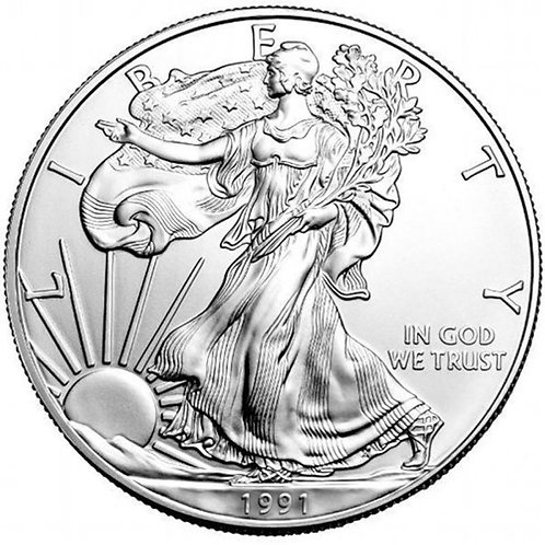 1991 1-oz American Silver Eagle in BU