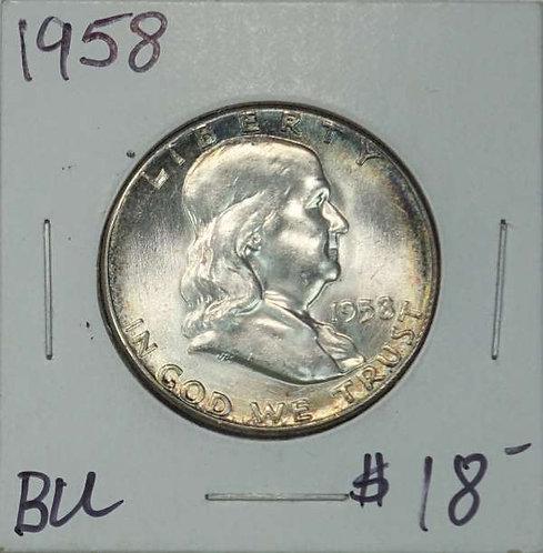 1958 Franklin Half Dollar in BU