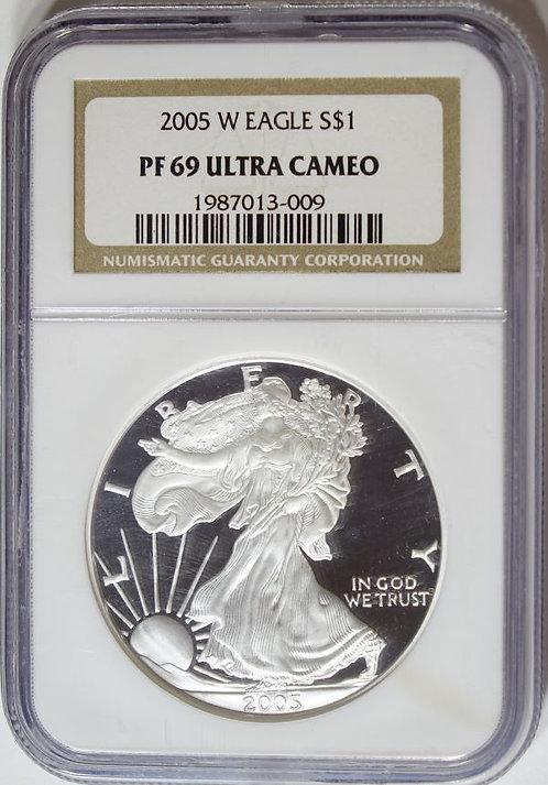 2005-W 1-oz Proof American Silver Eagle NGC PF69UCAM