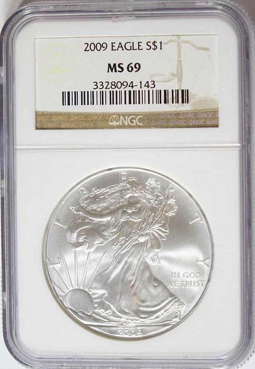 2009 1-oz American Silver Eagle NGC MS69