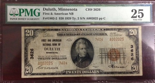 1929 $20 First and American National Bank of Duluth, MN PMG VF25
