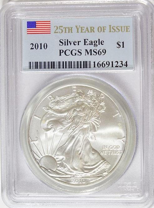 2010 1-oz American Silver Eagle PCGS MS69