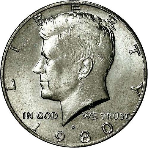 1980-D Kennedy Half Dollar in BU