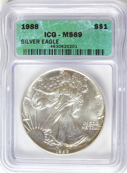 1988 1-oz American Silver Eagle ICG MS69