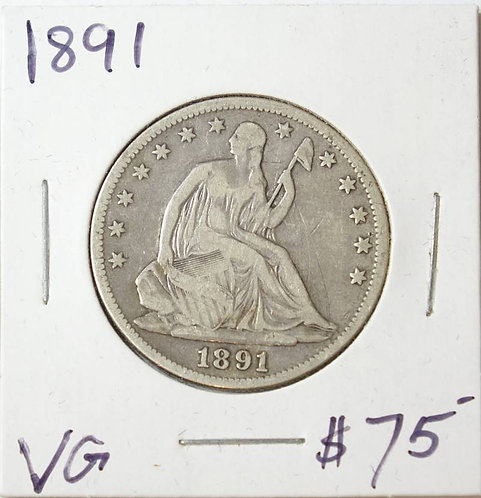 1891 Seated Liberty Half Dollar in VG