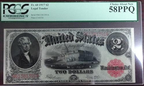 1917 $2 Legal Tender Note PCGS AU58 PPQ