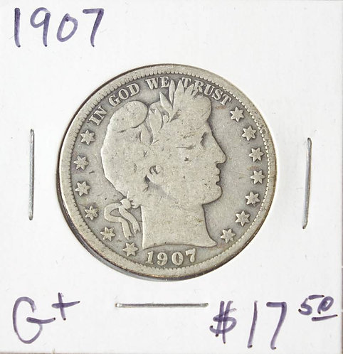1907 Barber Half Dollar in G+