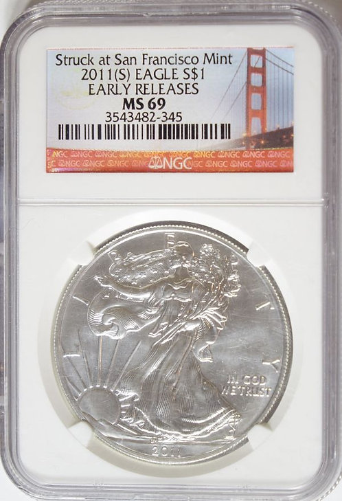 2011(S) 1-oz American Silver Eagle NGC MS69