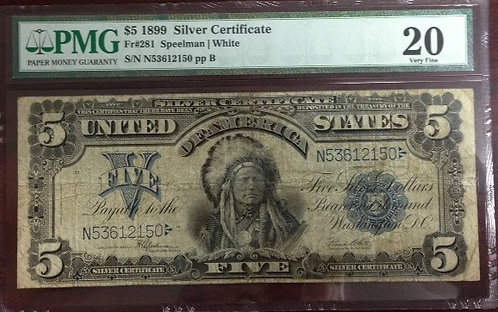 1899 $5 Silver Certificate PMG VF20