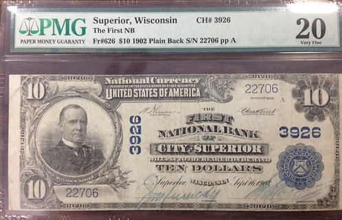 1902 $10 The First National Bank of the City of Superior, WI PMG VF20