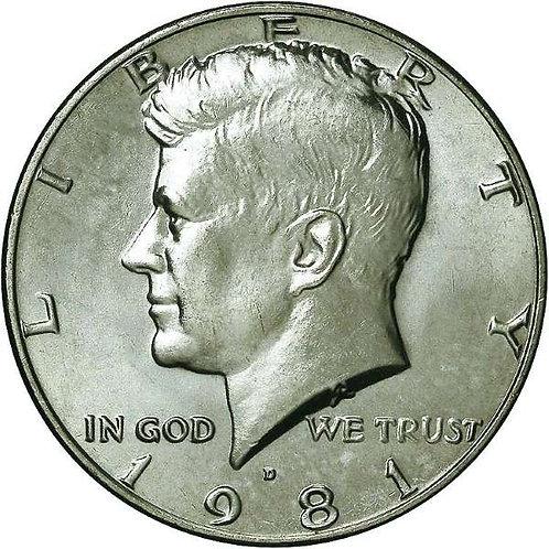 1981-D Kennedy Half Dollar in BU