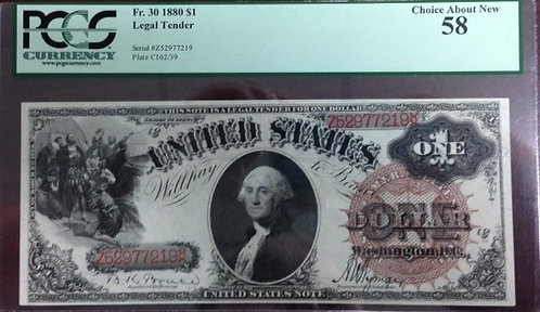 1880 $1 Legal Tender PCGS AU58