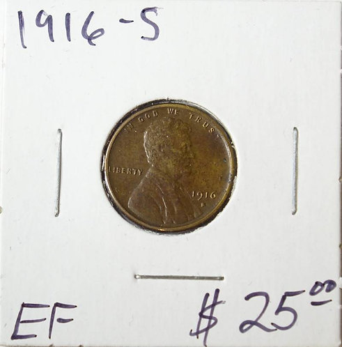 1916-S Wheat Cent in EF