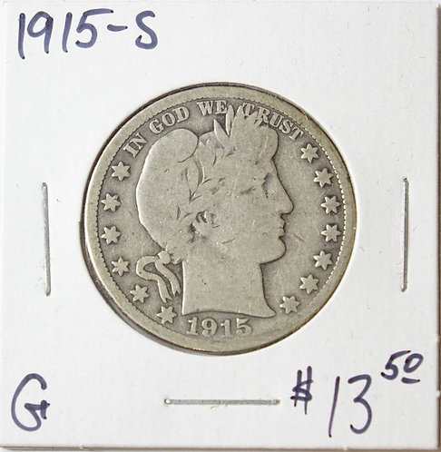 1915-S Barber Half Dollar in G