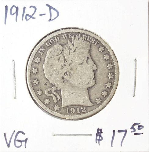 1912-D Barber Half Dollar in VG