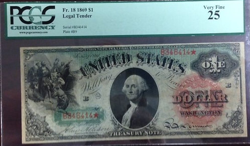 1869 $1 Legal Tender Note PCGS VF25