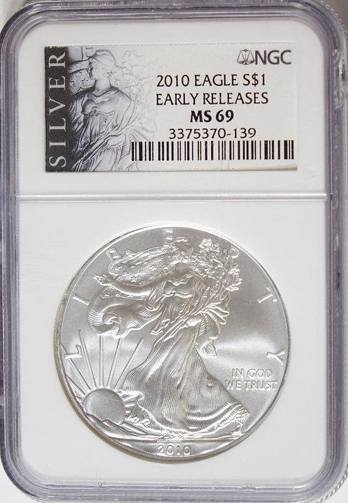 2010 1-oz American Silver Eagle NGC MS69