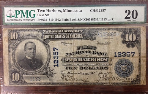 1902 $10 First National Bank of Two Harbors, MN