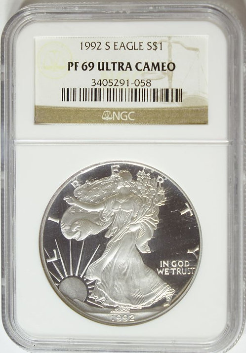 1992-S Proof American Silver Eagle NGC PF69UCAM