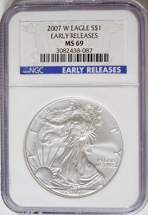 2007-W 1-oz American Silver Eagle NGC MS69