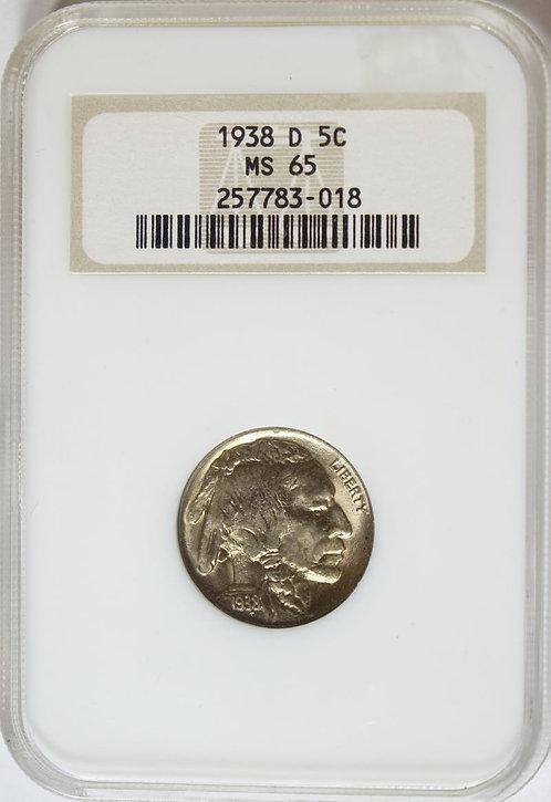 1938-D Buffalo Nickel NGC MS65