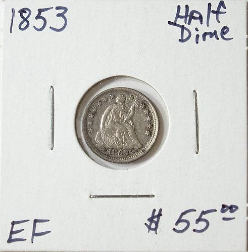 1853 Half Dime in EF