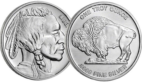 1-oz Silver Buffalo Round (.9999 fine silver)
