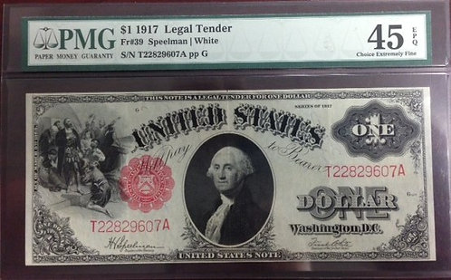 1917 $1 Legal Tender Note PMG EF45 EPQ