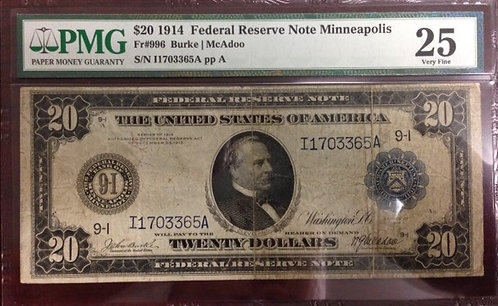 1914 $20 Federal Reserve Note of Minneapolis, MN PMG VF25