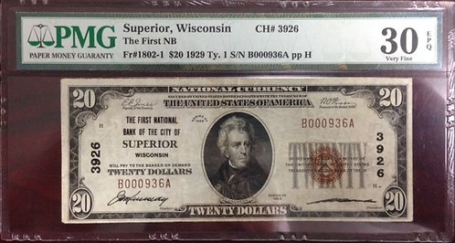 1929 $20 The First National Bank of the City of Superior, WI PMG VF30 EPQ