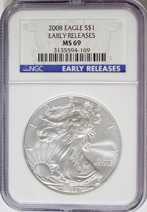 2008 1-oz American Silver Eagle NGC MS69