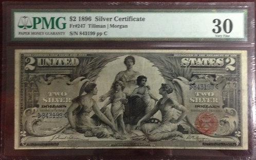1896 $2 Silver Certificate PMG VF30