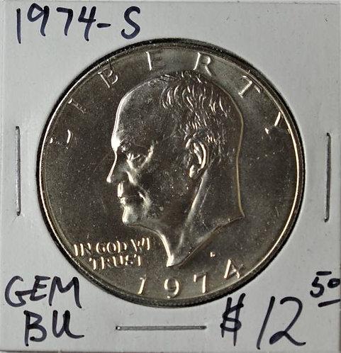 1974-S Eisenhower Dollar in GEM BU (40% Silver)