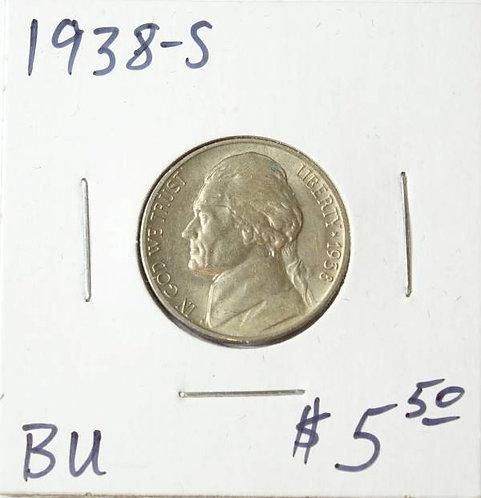 1938-S Jefferson Nickel in BU