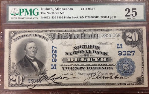 1902 $20 The Northern National Bank of Duluth, MN