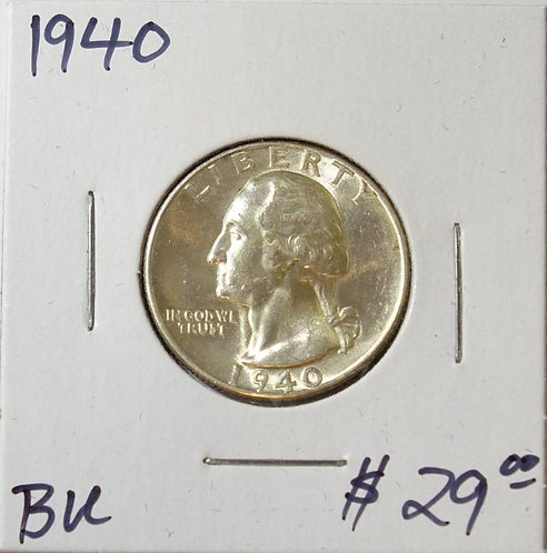 1940 Washington Quarterin BU