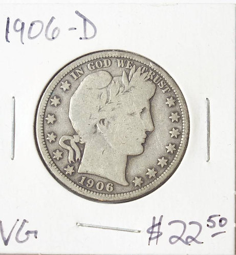 1906-D Barber Half Dollar in VG