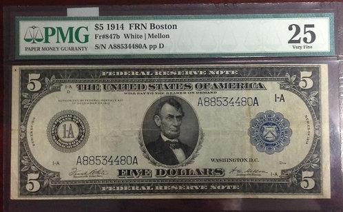1914 $5 Federal Reserve Note - Boston PMG VF25