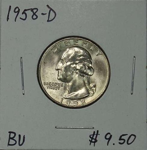 1958-D Washington Quarter in BU