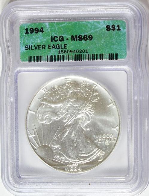 1994 1-oz American Silver Eagle ICG MS69