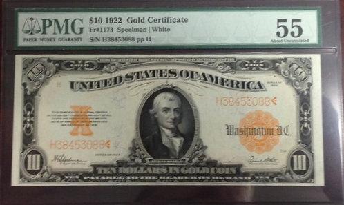 1922 $10 Gold Certificate PMG AU55