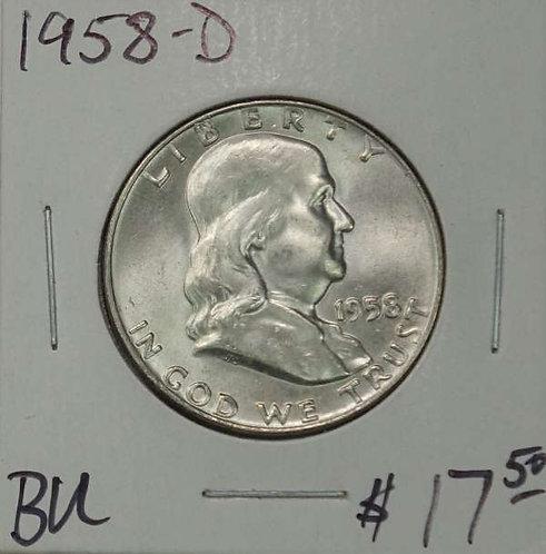 1958-D Franklin Half Dollar in BU