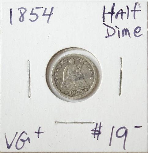 1854 Half Dime in VG+