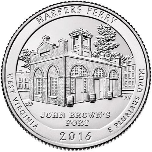 2016-P Harpers Ferry National Park Quarter in BU