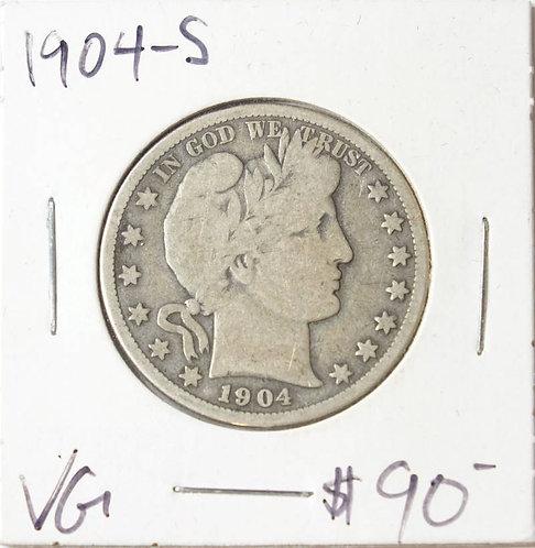 1904-S Barber Half Dollar in VG
