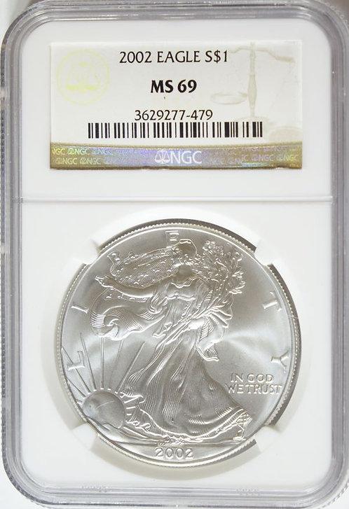 2002 1-oz American Silver Eagle NGC MS69