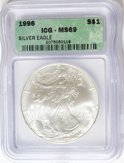 1996 1-oz American Silver Eagle  ICG MS69
