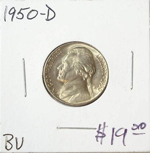1950-D Jefferson Nickel in BU