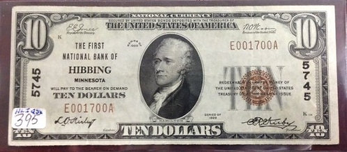 1929 $10 First National Bank of Hibbing, MN