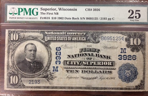 1902 $10 The First National Bank of the City of Superior, WI PMG VF25